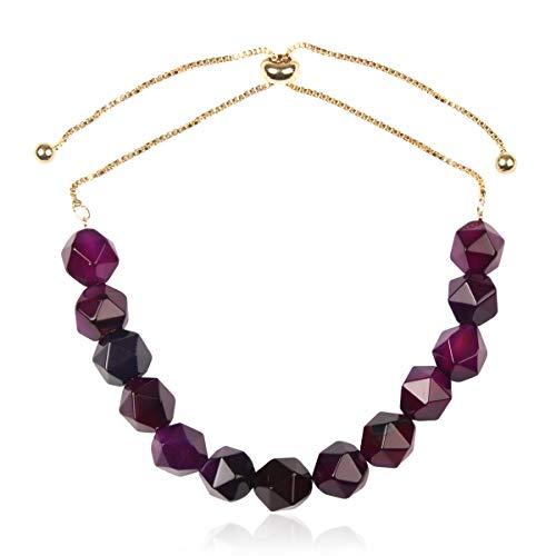 - Natural Stone Stretch Prayer Bolo Bracelet - Semi Precious Healing Gemstone Chakra Beaded Friendship Slide Adjustable Cuff Bangle Faceted Jewel/Plus Size (Faceted Jewel Bolo Bracelet - Amethyst)