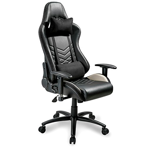 Merax Executive Gaming Chair PU Leather and Fabric Racing Chair Ergonomic Design Office Chair with Adjustable Armrests