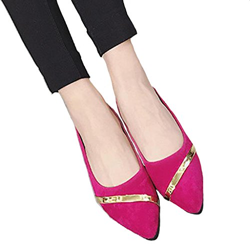 Lisianthus Lisianthus Red Womens PU Rose Pumps PU Womens Flat HAHPrx7