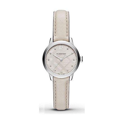 Burberry Women's Swiss Diamond Accent White Leather Strap Watch 32mm BU10105
