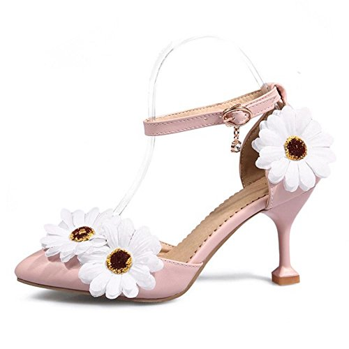 Ankle Women Pink TAOFFEN Strap Sandals Heels 5APR1n
