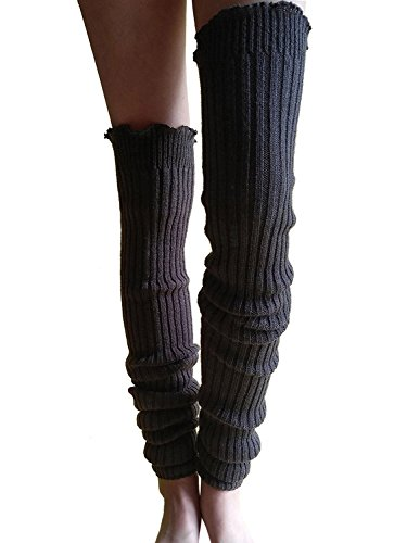 Leg Warmers Cover (Wildestdream Women's Super Long Cable Knit Leg Warmers Boot Cover Socks Charcoal)