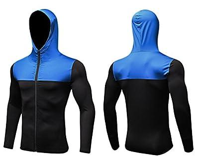 Tailloday Men's Quick-Dry Hoodies Running Sweatshirt Slim Fit Zip Up Fitness Gym T Shirts