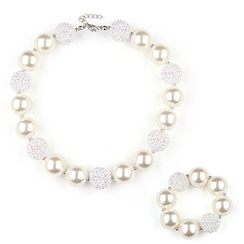 Unijew Kid Jewelry Kid Necklace Bracelet Jewelry Set for Girls Chunky Green Beads Bubblegum for Kids Teen Girls Gift ()