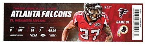 2016 Atlanta Falcons v Washington Redskins Ticket 8 11 16 NFC Champs Allen  37818 bdbab5abb