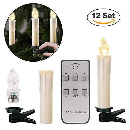 German 12pcs Battery Operated Taper LED Candle Lights Christmas Hanukkah Holiday Candles Set | Wireless with Remote Candles | Christmas, Party, Wedding, Birthday, Hanukkah | No/Slow/Fast Flickering ()