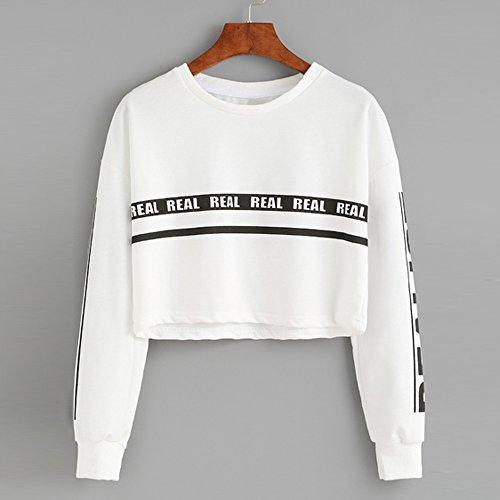 SKY Moda Mujer Carta Impresión Crop Sweater Top Blusa Blanco Letter printing loose sweater blanco