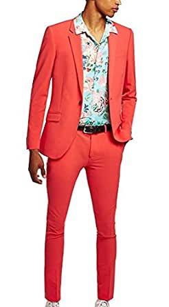 Michealboy Men¡¯s Formal Suits 2 Piece Blazer and Pants Orange Tuxedo