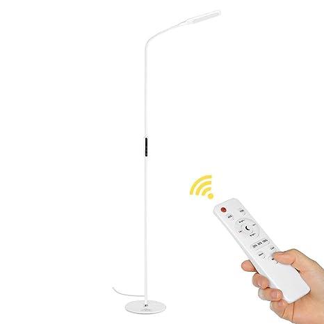 Lámpara de pie Lámpara de pie LED Lámpara de pie Control remoto con perilla de ajuste de brillo, cuello de cisne flexible para la sala de estar ...