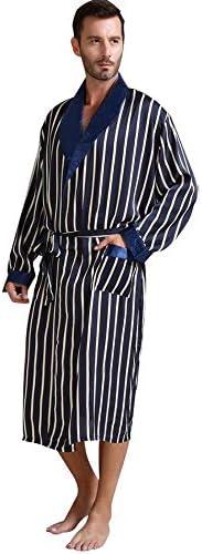 パジャマ CHJMJP メンズシルクサテンパジャマパジャマパジャマパジャマローブローブナイトガウン部屋着 (Color : Beige Strip, Size : XXXL)