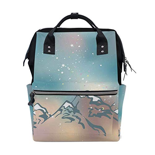 Kcolong Casual Backpack Cute Milky Way Galaxy Over The Himalayan Peaks Colorful Abstract Dots South East Asia School Travel Daypack for Men Women Wide Doctor Style Top Opening