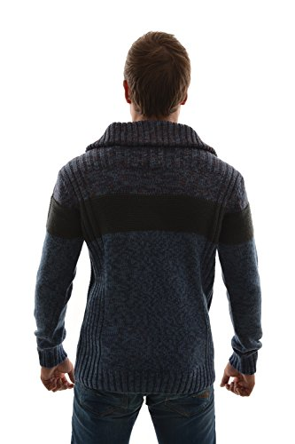 pull hiver petrol industries kwc255 knit stan up collar bleu