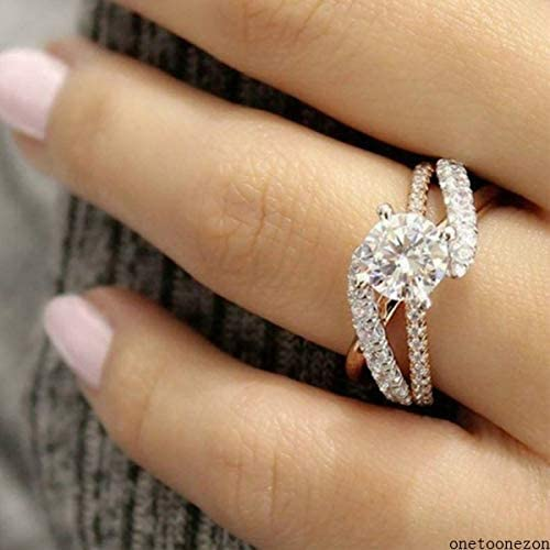 Size 6-10 Women White Sapphire Engagement Ring Bridal Wedding Party Ring