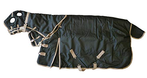 - AJ Tack Wholesale Horse Turnout Blanket Rug Hood Neck Cover Combo Waterproof Ripstop 1200D Heavy Weight Black Size 78 Medium