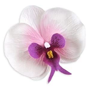 "(10) White Purple Phalaenopsis Orchid Silk Flower Heads - 3.75"" - Artificial Flowers Heads Fabric Floral Supplies Wholesale Lot for Wedding Flowers Accessories Make Bridal Hair Clips Headbands Dress 33"