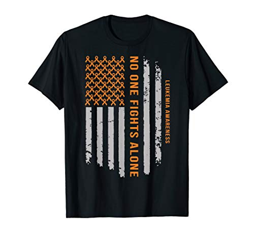 Leukemia Awareness Shirt Orange Ribbon US Flag shirt