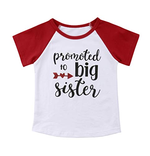 Gaono 2019 Baby Girl Clothes Outfit Big Sister Letter Print T-Shirt Top Blouse Shirts (Red Sleeve, 5-6 Years)