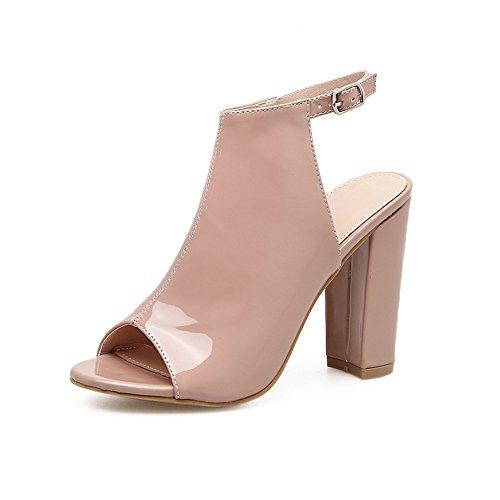 trasero Heel para nuevo de ZHZNVX elegante los Shoes verano calzado apropiado En de meses apricot ranurada el pulpo alta WqP8BqvA