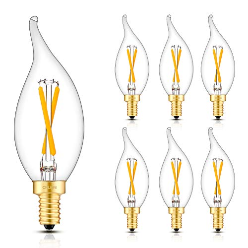 CRLight 2W LED Candelabra Bulb 25W Equivalent Warm White 2500K 250LM, E12 Base Dimmable LED Chandelier Bulbs, Antique CA11 Clear Glass Candle Flame Shape, 6 Pack