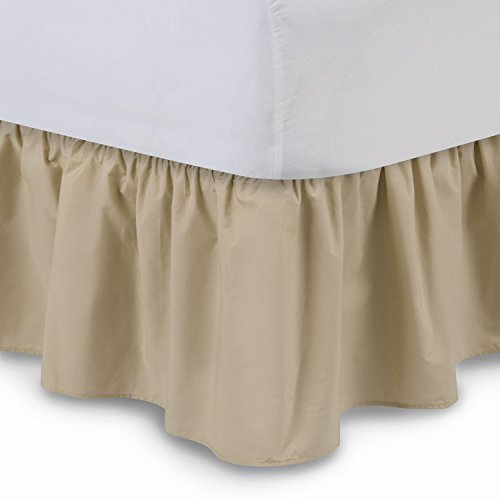 Shop Bedding Ruffled Bed Skirt (Queen, Stone) 14 Inch Drop Dust Ruffle with Platform, Wrinkle and Fade Resistant - by Harmony Lane (Available in all bed sizes and 16 colors)