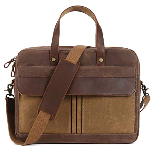 Laptop Briefcase,Mens Messenger Bag,15.6inch,Lugagge Carry On Tote,Canvass Computer Large Satchel Shoulder Bags,Vintage Leather Handbag Waterproof for Travel Brown