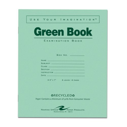 Roaring Spring Recycled Exam Book, 8.5 x 7, 8 Sheets by Roaring Spring