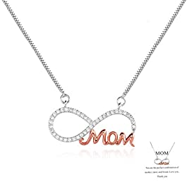 Exweup Gifts for Mother's Birthday Personalized Mom Necklace Infinity Necklace for Mom Cubic Zirconia Necklace with Card…