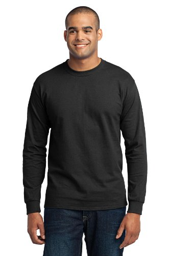 Port & Company Men's Long Sleeve 50/50 Cotton/Poly T Shirt L Jet Black (50 Long Sleeve T-shirt)