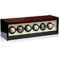 Modalo Allegra Macassar Lacquered Wood Watch Winder for 6 Watches with Touch Screen