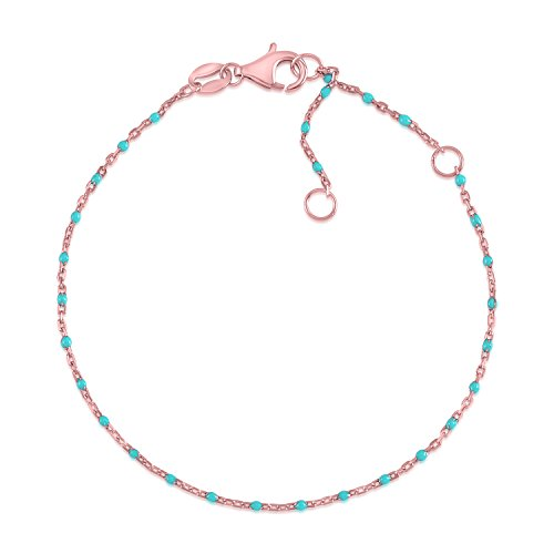 MASSETE Sterling Silver 925 Rose Gold Plated Thin Dew Drop Stacking Bracelet Light Blue Enamel Cable Chain 7.5