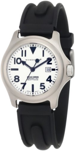 - Momentum Women's 1M-SP01W1 Atlas White Dial Black SLK Rubber Watch