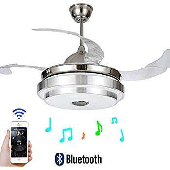Fan Chandelier With Bluetooth Speaker Retractable Ceiling