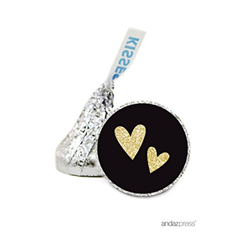 Candy Hearts Personalized Banner - Andaz Press Chocolate Drop Labels Stickers Single, Wedding, Double Hearts Black and Faux Gold Glitter, 216-Pack, For Hershey's Kisses Valentine's Day Party Favors, Gifts, Decorations
