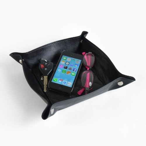 Black Faux Leather Catch-all Coin Valet Tray & Catch-all for Keys, Phone, Jewelry, Mobile Phone, Reading Glasses and Much More