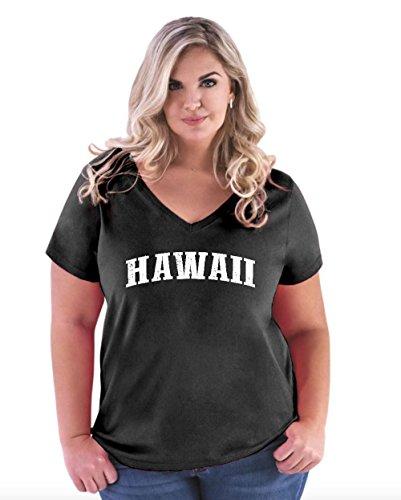 NIB Hawaiian Islands Maui Kauai OAHU Kona Hilo Big Island Women Curvy Plus Size V-Neck Tee (Wholesale Cotton Kona)