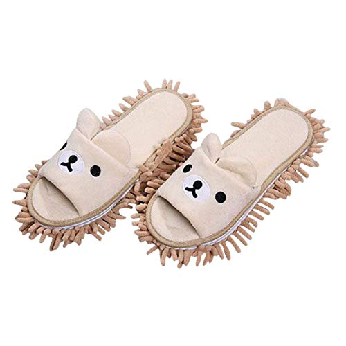 - Liitrton 1 Pair Detachable Mop Slippers Shoes Microfiber Chenille Soft Comfortable Dust Dirt Hair Cleaner (Beige)