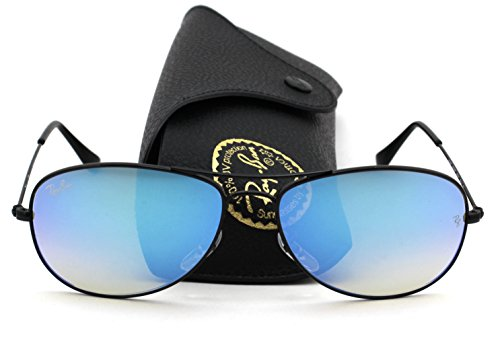 Ray-Ban RB3362 002/4O Cockpit Flash Series Unisex Sunglasses (Shiny Black Frame / Blue Gradient Flash Lens 002/4O, - Blue Ban Frame Ray Aviators