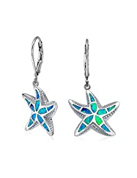 Bling Jewelry Synthetic Blue Opal Inlay Starfish Drop Sterling Silver Leverback Earrings