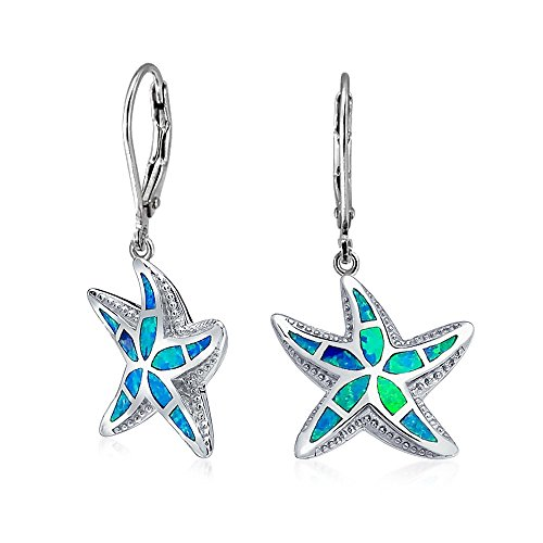 Blue Created Opal Inlay Nautical Ocean Sea Life Starfish Drop Leverback Earrings For Women 925 Sterling Silver