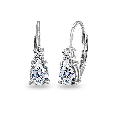 Sterling Silver Dainty Teardrop Huggie Leverback Earrings Made with Swarovski -