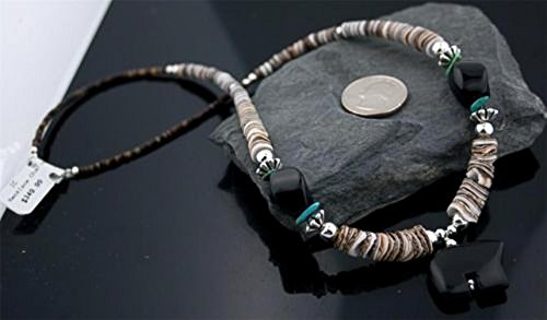 Carved BEAR Fetish Certified Authentic Navajo .925 Sterling Silver Graduated Melon Shell and Turquoise Native American Necklace