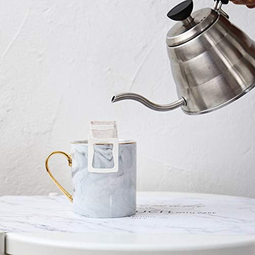 TOOGOO 400Ml Ceramic Coffee Marble Mugs with Gold Handle Natural Marble Office Drinking Milk Mugs Cups Gifts Gray