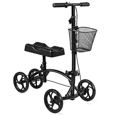 Folding Knee Walker Adjustable Scooter Removable Storage Metal Basket, Black with Ebook : Sports & Outdoors