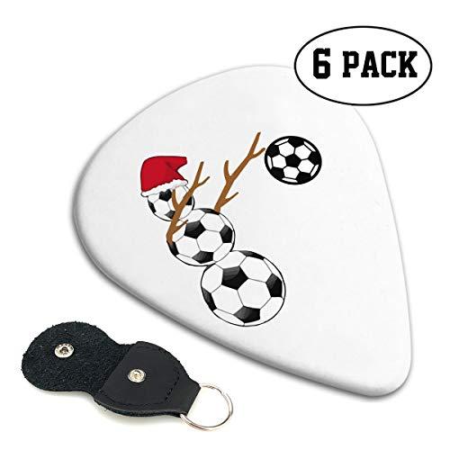 (Irene Merritt Guitar Picks- Dabbing Snowman Soccer Christmas Guitar Picks With Leather Cases Bag £¨6 Pack£)