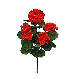 MyHappyFamily 14 Inch Artificial Geranium Bush Silk Flowers (Pack of 12) (Red) 32