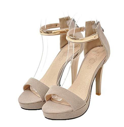 tacco alto smerigliati beige Sandali Women Zipper Aalardom con ICxwvS7q