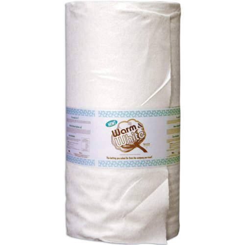 WARM COMPANY (2531) Cotton Batting By-The-Yard, Full/Queen Size, White