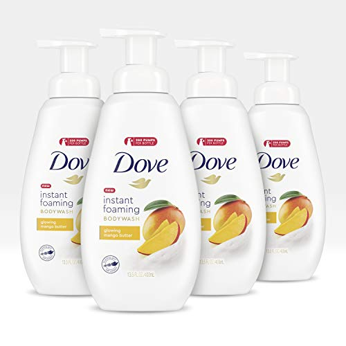 Dove Foaming Body Wash for All Skin Types, Mango Butter For Glowing Skin 13.5 oz 4 Count