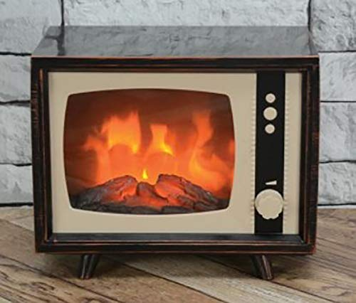 (CSI Compact Retro Television with LED Moving Flame Effect, Hearth-Like-Fireplace-Glow with Electric Fireplace TV Look for Indoors)