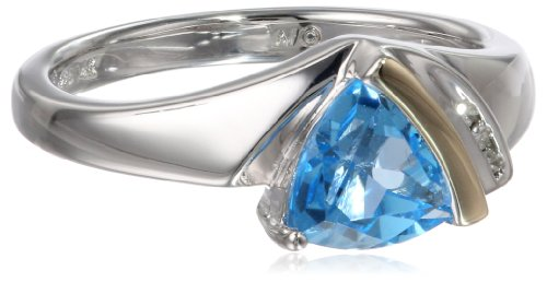 Sterling Silver and 14k Yellow Gold Swiss Topaz and Diamo...